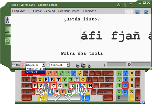 Spanish Typing Lessons into Lesson View