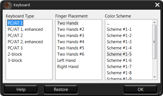 finger placement schemes