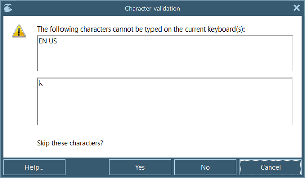 character validation