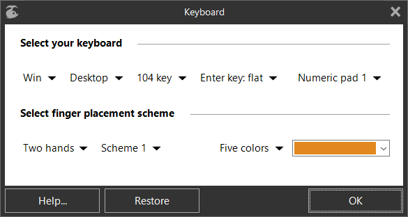 «Keyboard» dialog box